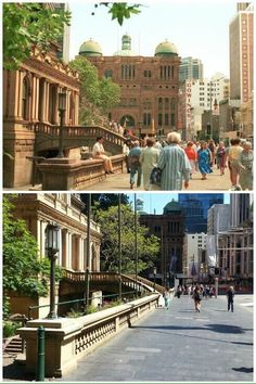 Town Hall, George Street looking north in 1986 and 2015 ( 1986 > City of Sydney Archives - 2015 > Allan Hawley. By Allan Haley]