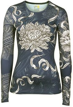Women's Athletic Apparel: Blue Athletic Long Sleeve Top with Lotus Flower Print - Womens Workout and Sports Clothes by YMX