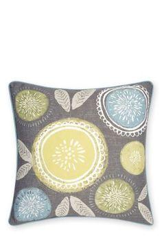 Teal Retro Floral Cushion