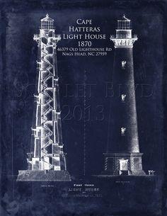 light house blueprint wall art | Cape Hatteras Lighthouse - 8 x 10 Architectural Blueprint Art Print