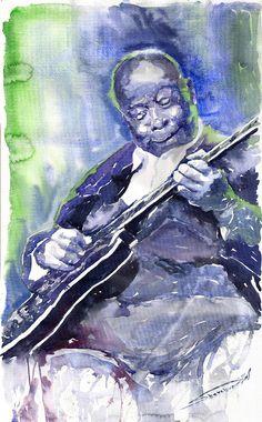 Jazz B B King 02 Painting  - Jazz B B King 02 Fine Art Print