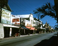 Looking south on Duval St. near the intersection with Fleming St. in Key West. April 1961