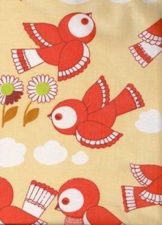 1970s bird fabric