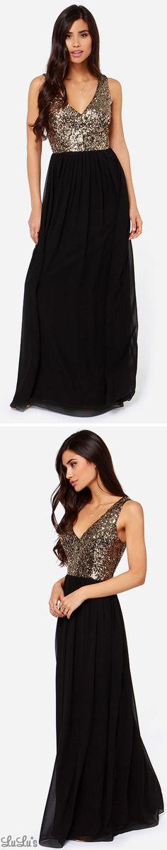 LULUS Exclusive Maximum Shine Black And Gold Sequin Maxi Dress  @funnywedding.org #cheapbridesmaid #cheapdresses #bridesmaiddresses