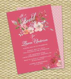 Watercolor Floral Pink Bridal Shower van SunshinePrintables op Etsy