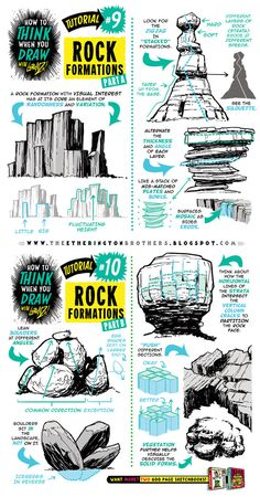 How to draw ROCK FORMATIONS BOULDERS ENVIRONMENTS by STUDIOBLINKTWICE.deviantart.com on @DeviantArt