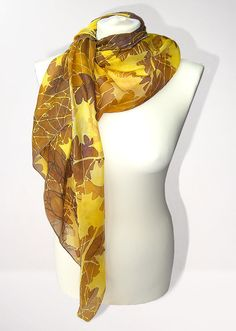 Big silk scarf AUTUMN LEAVES hand painted silk scarves by MinkuLUL, $65.00