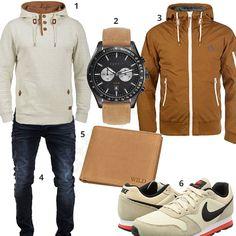 Beige-Braunes Herren-Outfit mit Hoodie und Sneakern (m0891) #nike #pullover #esprit #uhr #jeans #outfit #style #herrenmode #männermode #fashion #menswear #herren #männer #mode #menstyle #mensfashion #menswear #inspiration #cloth #ootd #herrenoutfit #männeroutfit