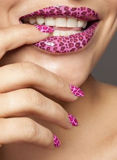 Pink cheetah lips . . . and nails.