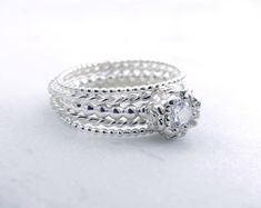 Set of 5 stacking rings - Sterling silver cubic zirconia ring - Simulation diamond ring - Engagement ring - Handmade statement ring by HopeADesign on Etsy Handmade Engagement Rings, Engagement Ring Settings, Diamond Engagement Rings, Silver Stacking Rings, Sterling Silver Rings, Silver Jewelry, Twist Ring, Cubic Zirconia Rings, Beaded Rings