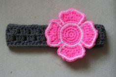Firefighter/ Fire Department Crochet Headband/ Hair Bow - Pink/ Gray on Etsy, $10.00