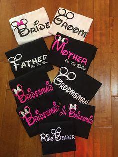 Personalizados de Disney Mickey y Minnie Mouse novia y el novio de la boda novia familia fiesta vacaciones camisetas Disney cruceros