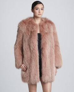 THE CHUBBY IS IN... Marc Jacobs Collarless Fox Fur Coat, Rose