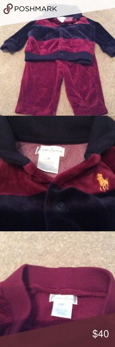 NWOT AUTHENTIC INFANT SUEDE JOGGING SUIT AUTHENTIC  INFANT JOGGING SUIT SUEDE NEVER WORN REALLY CUTE GRANDSON NEVER GOT A CHANCE TO WEAR BOUGHT FROM MACYS COLOR IS DARK BUE AND DARK BURGUNDY Ralph Lauren Other