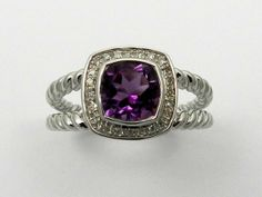 RHODIUM PLATED STERLING SILVER NATURAL  AMETHYST GENUINE DIAMOND RING