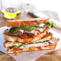 Try this delicious sandwich that features spinach, turkey, and walnut on delicious bruschetta and is toasted to perfection.