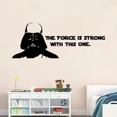 The force is strong with this one Star Wars Wall Decal Sticker with Darth Vader Boys Bedroom Wall Decor Poster Stickers Home Decor Wallpaper