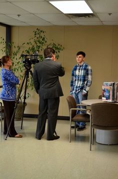 Rob interviewing a high school student taking classes at OSUIT to help him get a job at the MidAmerica Industrial Park
