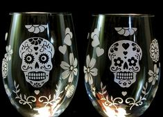 Stemless Wine Glasses, Dia De Muertos Wedding / Day of the Dead Stemless Glasses, Sugar Skull Decor