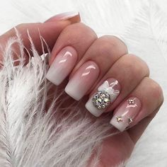 80 Beautiful Christmas Nail Design Ideas For New Year - Page 70 of 80 - Soflyme - Nail Art Xmas Nails, New Year's Nails, Holiday Nails, Pink Nails, Hair And Nails, Disney Christmas Nails, Christmas 2019, Square Acrylic Nails, Acrylic Nail Designs