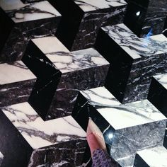 @Nexon Building Materials Limited - Fashion landed at Hotel Icon in Hong Kong. Love how this marble floor looks #interior #interiordesign #design #hotelicon #hongkong #marble #black #white #floor #coverings25 #coverings2014 #jimmychoo
