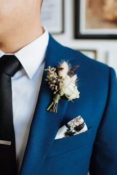 Boutonniere and Pocket Square for Wedding at The Container Yard in Los Angeles, California Wedding Album, Wedding Day, Blue Tablecloth, Brass Band, Handfasting, Street Artists, Newlyweds, Wedding Pictures, Groomsmen