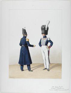 1824. Garde Royale. Infanterie. (2e Régiment), Capitaine Adjudant-Major, Lieutenant de Fusiliers.