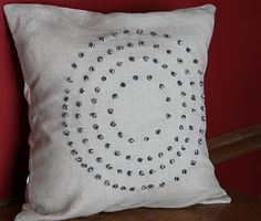 French knot circle pillow