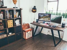 This simple desk bookshelf combo will be perfect for my home work space. Home Office Space, Office Workspace, Office Inspiration, Office Ideas, Minimal Desk, Interior Architecture, Interior Design, Simple Desk, Piece A Vivre