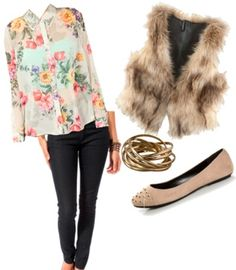 Pair a faux vest with a feminine blouse, dark skinnies, and edgy flats.