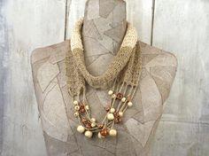 Necklace knit scarf  Boho infinity scarf  Ecru Grey by woollinen