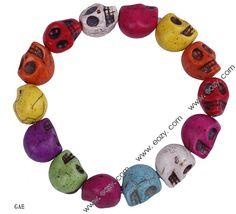 Colorful Skull Turquoise Stone Beads Bracelet $0.91 #skull #bracelet