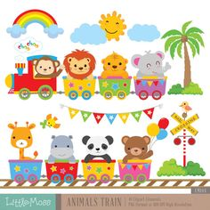 Wild Animals Train Digital Clipart by LittleMoss on Etsy