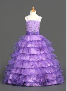 Robes de Petites Filles Ligne-A/Princesse Sans bretelles Longeur au sol Organza  Satin Robes de Petites Filles avec Dentelle  Brodé (010002153)