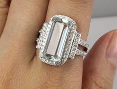 Im obsessed! 46 Carat Natural Aquamarine Engagement Ring by SteveleeJewelry, $1595.00