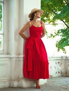 Cotton maxi dress for women, Plus size available - Vestidos estilosos 2020 - Casual Dresses, Fashion Dresses, Summer Dresses, Red Dress Outfit Casual, Classy Outfits, Chic Outfits, Cotton Long Dress, Dress Long, Day Dresses