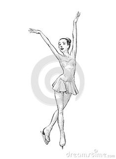 Hand-drawn Sketch, Pencil Illustration of a Figure Skater Woman Figure Sketching, Figure Drawing, Pencil Art Drawings, Drawing Sketches, Ice Skate Drawing, Ice Skating Pictures, Ballerina Sketch, Sports Drawings, Dancing Drawings