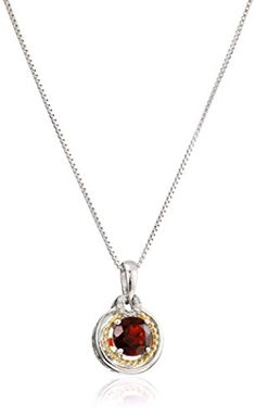 "Sterling Silver and 14k Gold Garnet and Diamond Accent Earrings and Pendant Necklace Set, 18"" ** Click on the image for additional details. (Amazon affiliate link)"