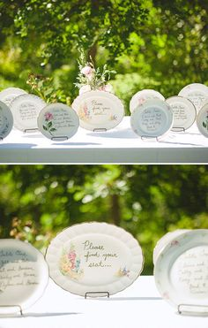 Scour thrift stores for mismatched china, and write out your seating chart on vintage plates.