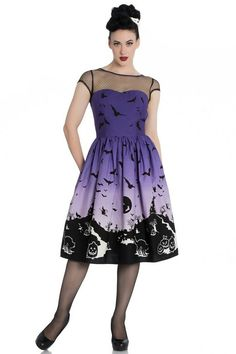 Hell Bunny Pinup Dress Haunt Purple Halloween Bats Witch Mesh All Sizes 03658328d7