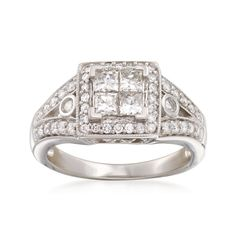 Ross-Simons - C. 1980 Vintage 1.10 ct. t.w. Diamond Halo Ring in 14kt White Gold. Size 7 - #896723
