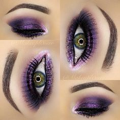 Mac Malt blended out, Mac Swish (shimmery pink) inner corner , Mac Nocturnelle middle of eye lid & crease Smashbox Blackout outer eyelid & under lower lashes, along with Nocturnelle to smoke it out. Purple glitter on top lid Purple Makeup, Purple Eyeshadow, Makeup For Green Eyes, Mac Eyeshadow, Kiss Makeup, Glam Makeup, Makeup Geek, Beauty Makeup, Hair Makeup