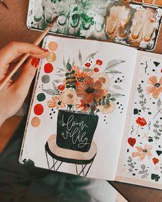 "Tanja von Die Handletterei on Instagram: ""#handletteringmeetsillustration #watercolordaily #letteringdaily 🌿✍🏻 >>> #bloomwildly . . . #watercolorillustration #watercolor…"""