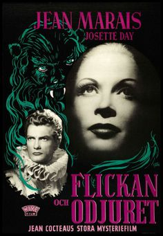 1946, beauty and the beast, Jean Cocteau, Swedish Poster