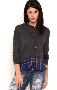 Deb Shops Long Sleeve Hoodie with Plaid Inset Bottom $10.50