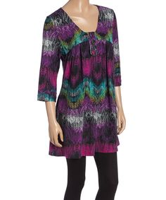 Look at this Purple & Black Abstract Sweater Tunic on #zulily today!