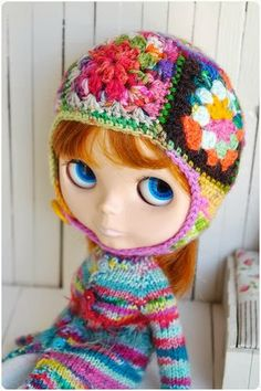 granny square hat, love this!
