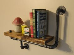 Industrial Shelving Pipe Shelf, Wood Shelf,  Made From Local and Rescued Hardwood Maple, Bookcase