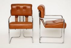 Guido Faleschini Pair of Cognac Leather Tucroma Chairs for Pace Mariani, 1970s For Sale at 1stdibs Side Chairs, 1970s, Pairs, Leather, Furniture, Home Decor, Decoration Home, Room Decor, Home Furnishings