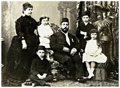 Khedive Tewfik Of Egypt With His Family - A Family Portrait In 1880's.